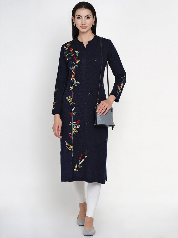 Fabnest Women Winter Acrylic Navy Embroidered Kurta with Bead Work-Kurta-Fabnest