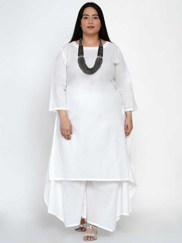 Fabnest Womens Basic Cotton White Kurta-Kurtas-Fabnest