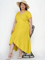 Fabnest Women Rayon mustard overlap knee length dress-Dress-Fabnest