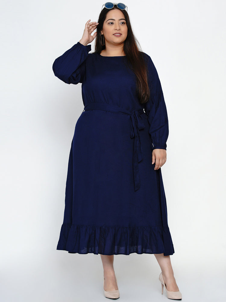 Navy fit and flare dress with belt-Dress-Fabnest
