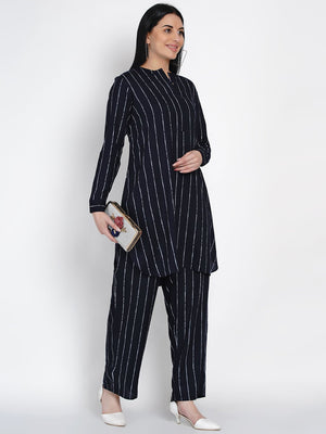 Load image into Gallery viewer, Fabnest women navy rayon white stripe kurta and pant co-ord set-Co-ords-Fabnest