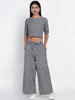 Fabnest Women handloom cotton black and white check palazzo pant with crop top-Co-ords-Fabnest