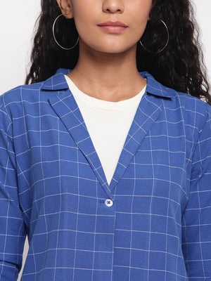 Load image into Gallery viewer, Fabnest Women's Handloom Cotton Blue Window Pane Check Jacket-Jacket-Fabnest