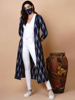 Handloom Cotton Blue Ikat Cape-Cape-Fabnest