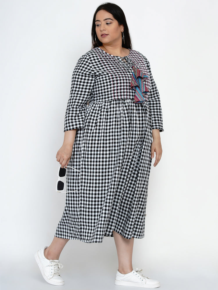 Fabnest Black and White Check Cotton Women Dress With Pintucks, Top Stitch and Colorful Tassles-Dress-Fabnest