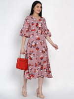 Fabnest Womens Floral Print A Line Dress With Flounced Sleeves-Dresses-Fabnest