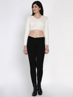 Fabnest women winter acrylic off white crop top cardigan-Cardigan-Fabnest