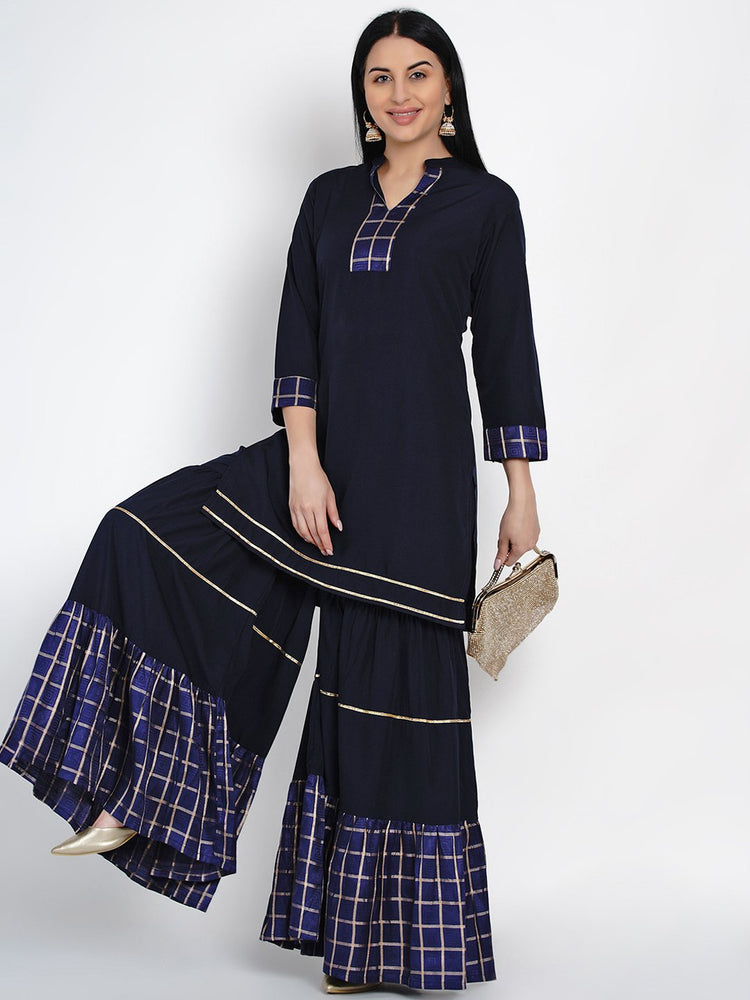 Fabnest Womens Navy Crepe Sharara Set With Brocade Inserts-Sharara Set-Fabnest