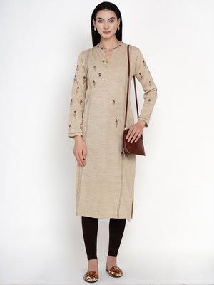 Load image into Gallery viewer, Fabnest Women Winter Acrylic Beige Self Design Embroidered Kurta-Kurtas-Fabnest