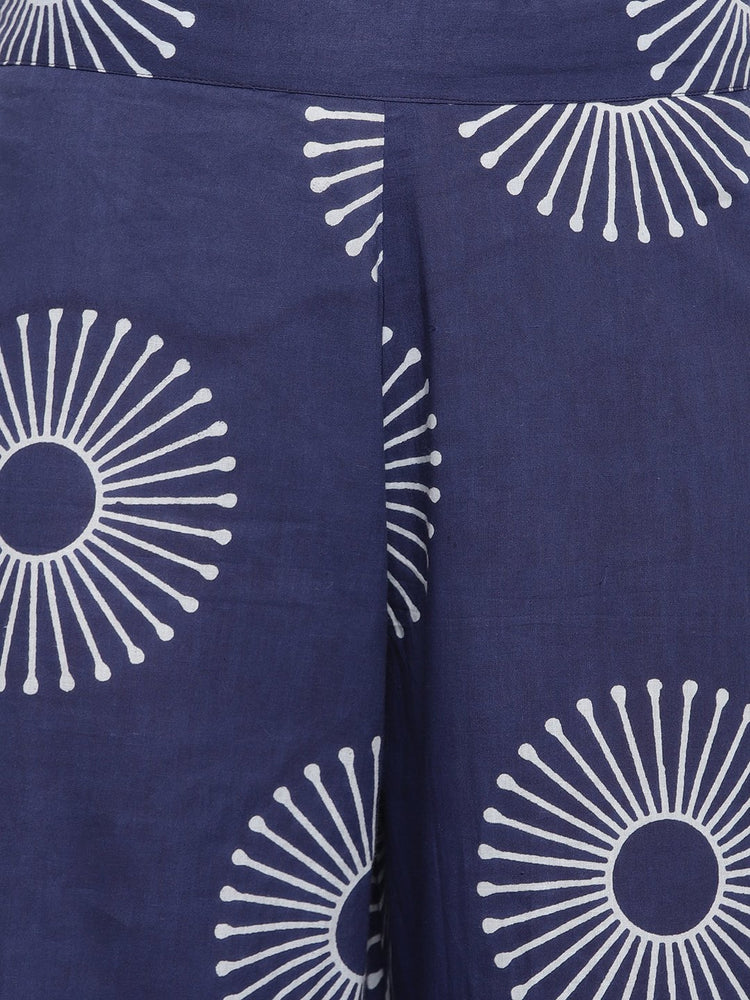 Load image into Gallery viewer, Fabnest womens indigo cotton printed Aline kurta-Kurta-Fabnest