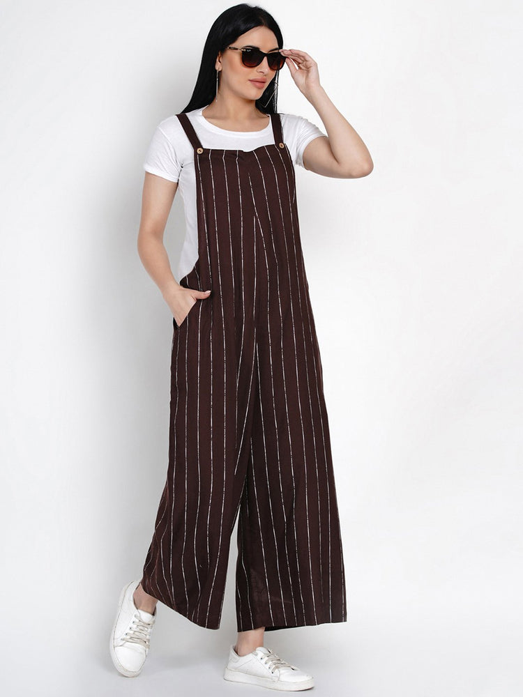 Fabnest Womens Rayon Brown And White Striped Rayon Loose Fit Dungaree-Jumpsuit-Fabnest