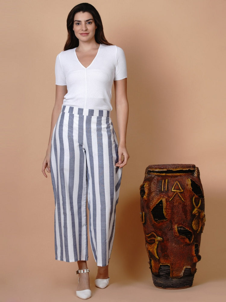 White and blue stripe loose fit pant-Pant-Fabnest