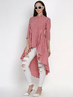 Fabnest Womens Handloom Cotton Red And White Check Assymterical Hem Long Tunic-Tunic-Fabnest
