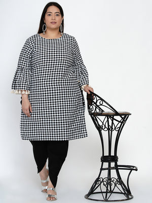 Load image into Gallery viewer, Fabnest Women Black and white check straight kurta with gathered sleeves and lace at its edge-Kurtas-Fabnest