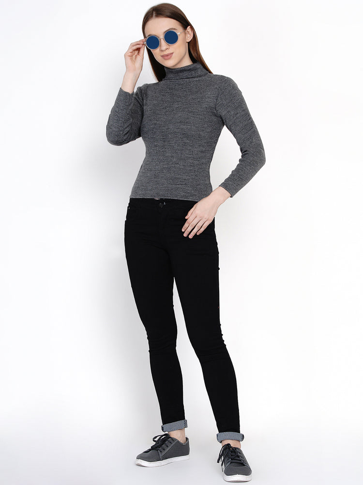 Load image into Gallery viewer, Women Winter Acrylic High Neck Grey Melange Sweater-Sweaters-Fabnest