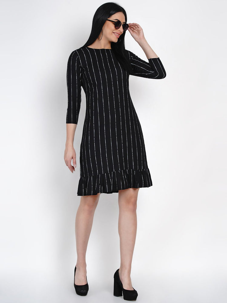 Fabnest Womens Black Rayon White Stripe Dress With Frills At Bottom-Dress-Fabnest