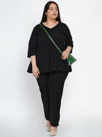 Fabnest Women Cotton flex black peplum top-Peplum top-Fabnest