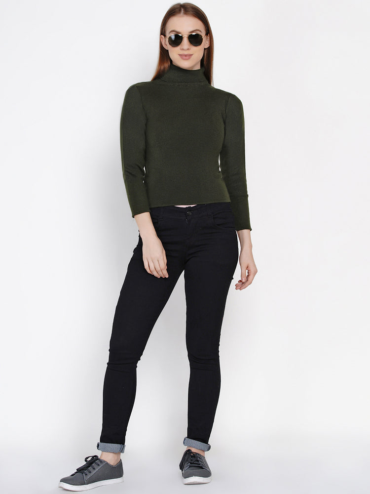 Women Winter Acrylic High Neck Olive Green Sweater-Sweaters-Fabnest