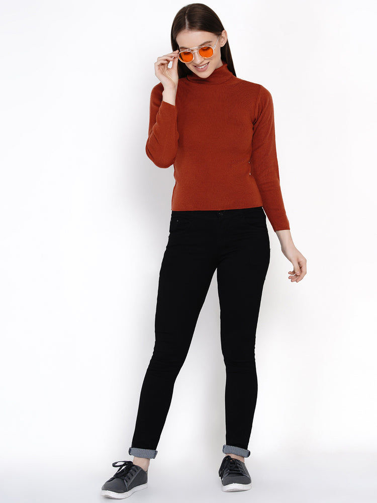 Women Winter Acrylic High Neck Rust Sweater-Sweaters-Fabnest