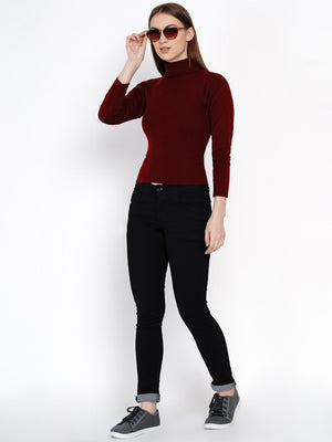 Load image into Gallery viewer, Fabnest Women Winter Acrylic High Neck Maroon Melange Sweater-Sweaters-Fabnest