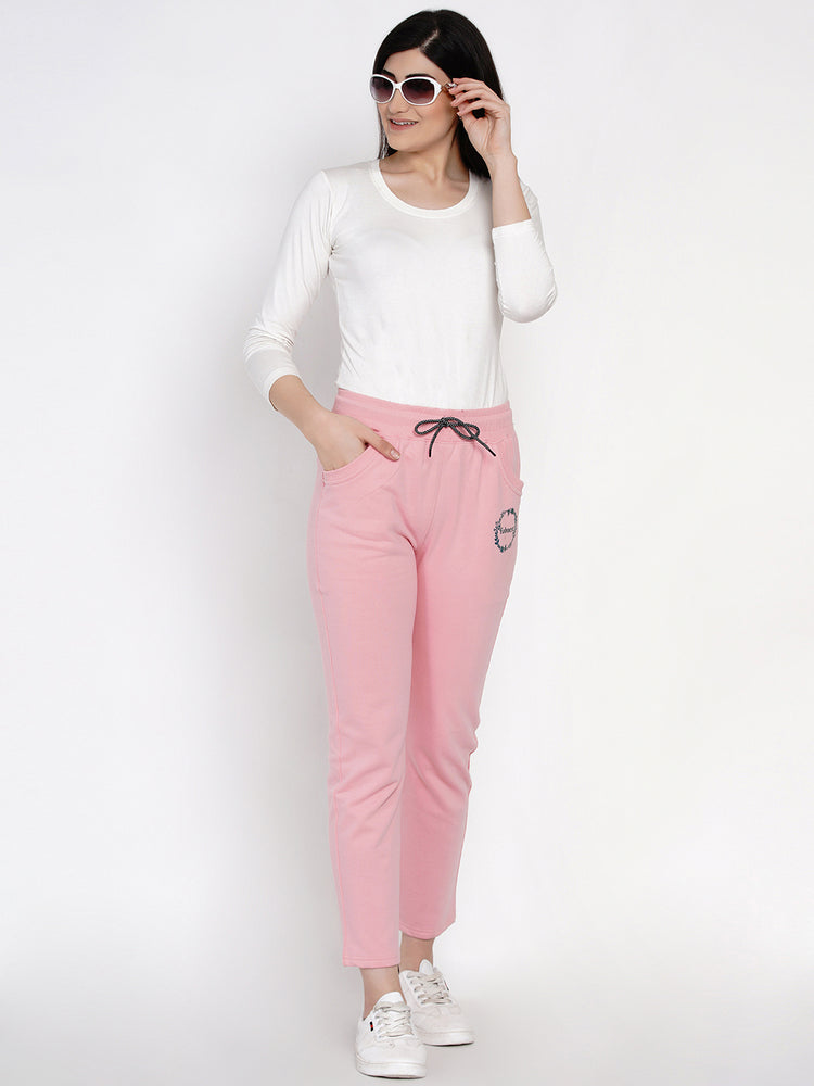 Load image into Gallery viewer, Winter Solid Baby Pink Printed Fleece Track Pants-Track Pants-Fabnest