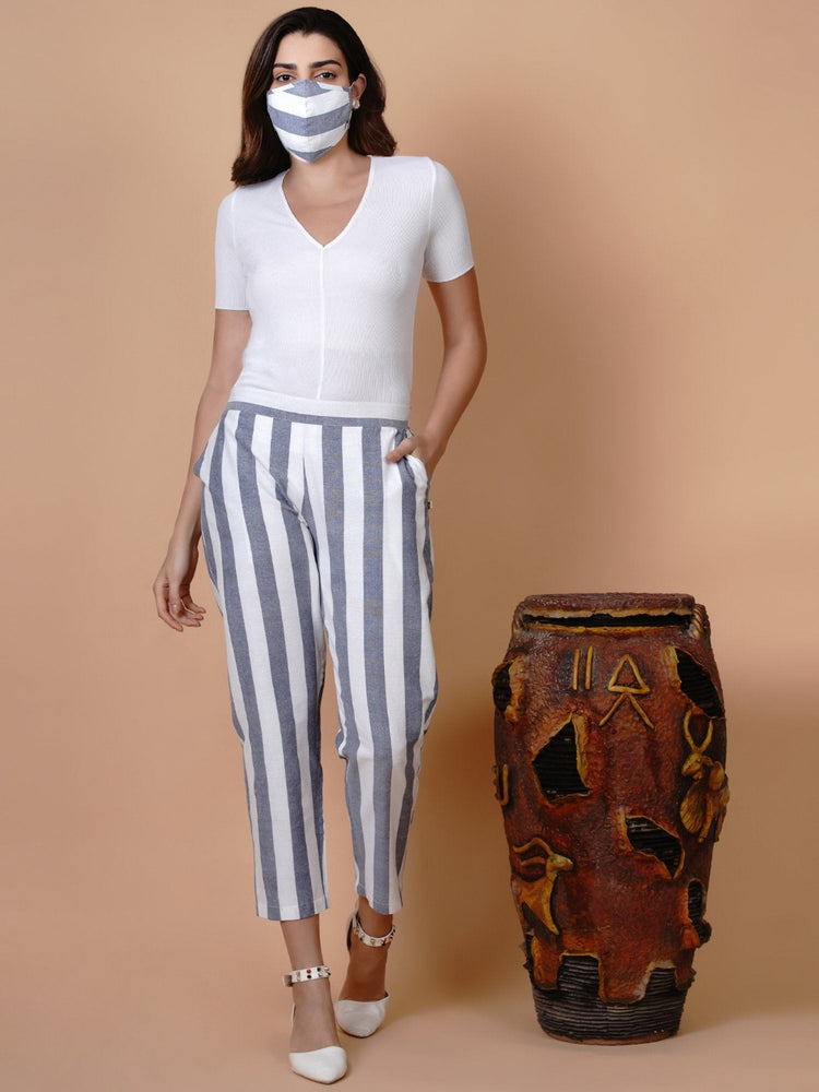 White and blue stripe tapered pant-Pant-Fabnest