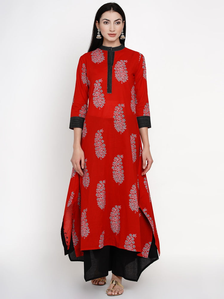 Fabnest women cotton floral paisley print red assymetric kurta with thread work-Kurta-Fabnest