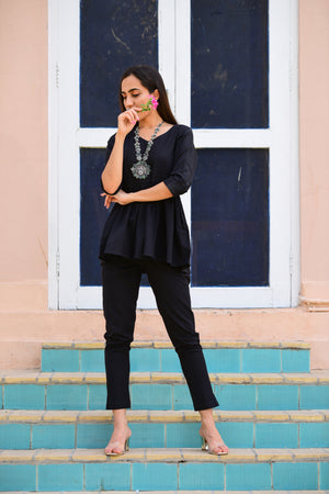 Load image into Gallery viewer, Cotton flex black peplum top with cigarette pants Set-Co-ords-Fabnest