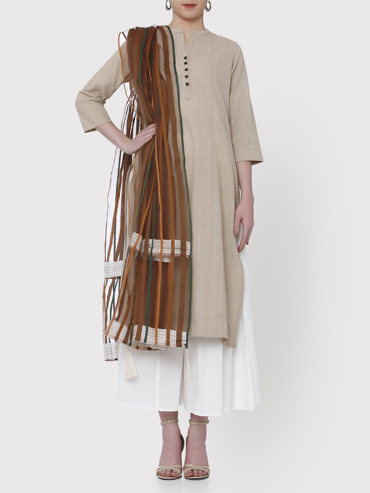 Fabnest Brown Silk Net Dupatta With Off-White Border And Tassels-Dupatta-Fabnest