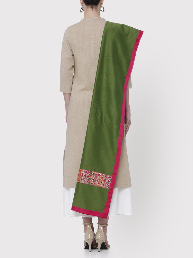 FABNEST PURE CHANDERI SOLID GREEN DUPATTA WITH BROCADE PANEL AND ALL OVER SOLID CHANDERI BORDER-DUPATTA-Fabnest
