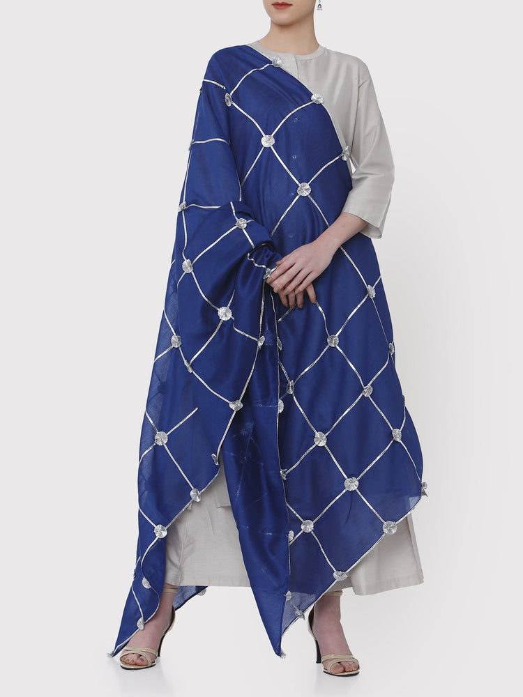 FABNEST PURE CHANDERI NAVY DUPATTA WITH ALL OVER SILVER GOTA AND GOTA FLOWER-DUPATTA-Fabnest