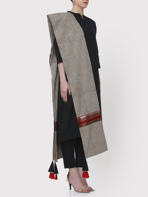 Load image into Gallery viewer, FABNEST HAND BLOCK PRINT PURE COTTON BLACK & WHITE DUPATTA WITH BROCADE BORDER AND MULTICOLOURED GOTA EMBELLISHED TASSLES-DUPATTA-Fabnest