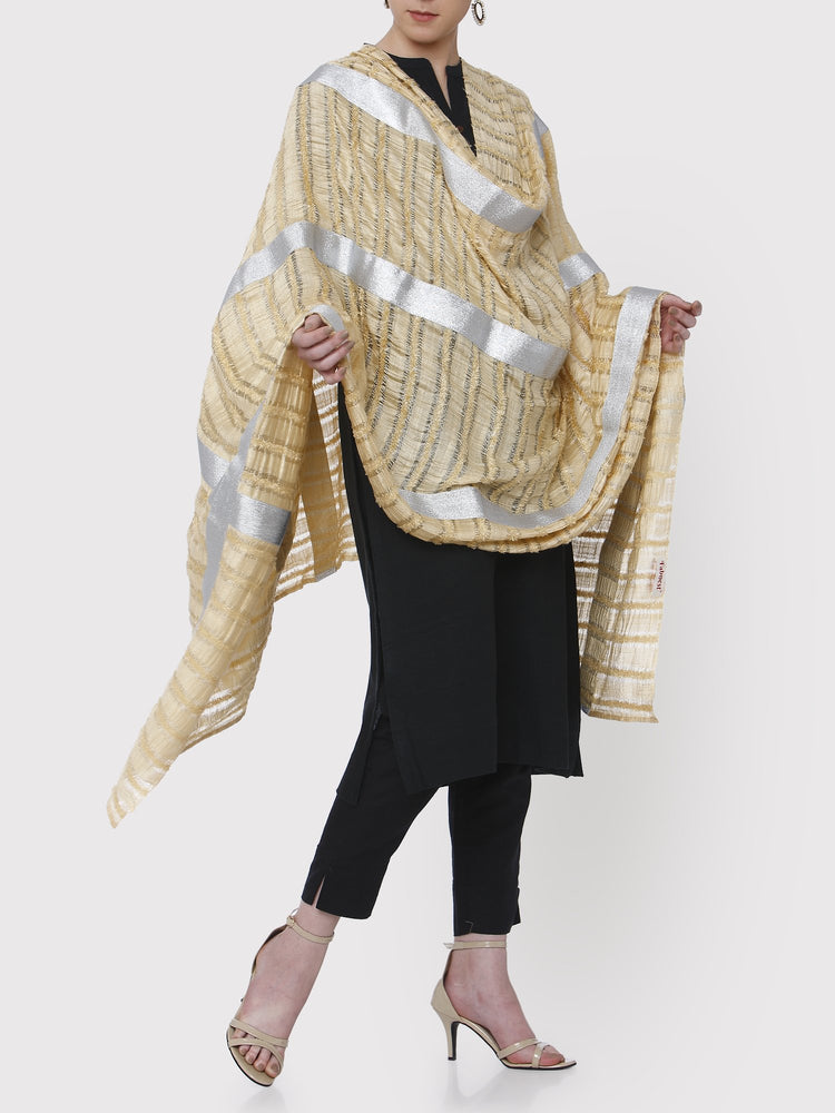 FABNEST LIGHT YELLOW SILK DUPATTA WITH SILVER GOTA BORDER-DUPATTA-Fabnest