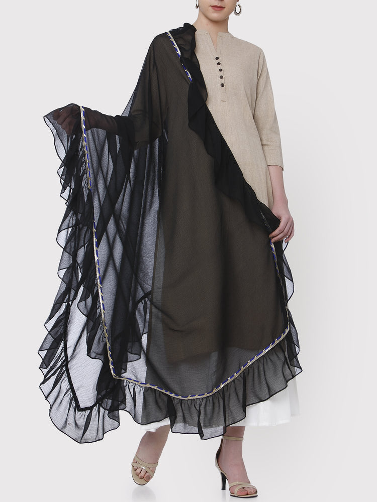 Fabnest Black Pure Georgette Dupatta with Navy/Silver Gota and All Over Frills-Dupatta-Fabnest