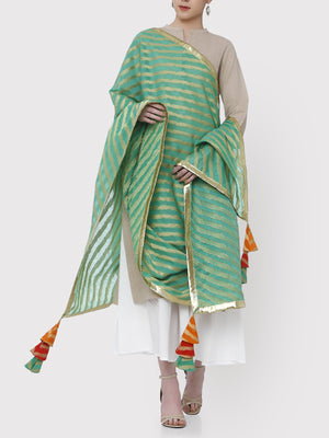 Load image into Gallery viewer, FABNEST GREEN BROCADE DUPATTA WITH ALL OVER GOTA BORDER AND MULTICOLOURED TASSLES-DUPATTA-Fabnest