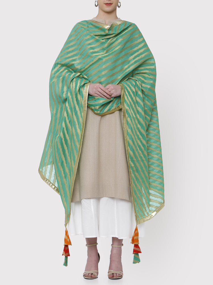 FABNEST GREEN BROCADE DUPATTA WITH ALL OVER GOTA BORDER AND MULTICOLOURED TASSLES-DUPATTA-Fabnest