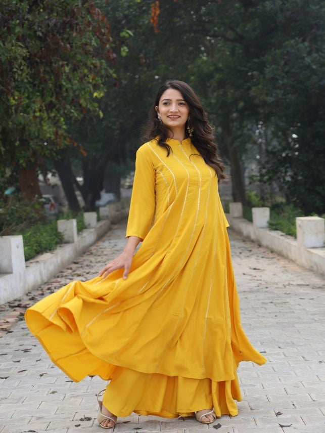 Akansha Bhargava | Anarkali yellow crepe kurta with thin gota accents-Kurtas-Fabnest