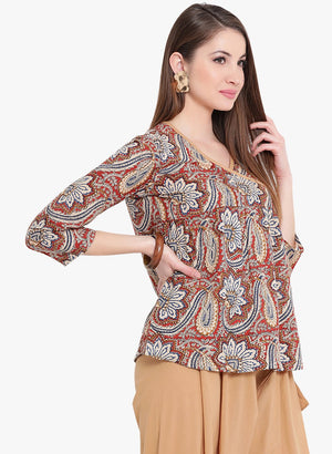 Load image into Gallery viewer, Fabnest Beige Multi Angrakha Cotton Top-Top-Fabnest
