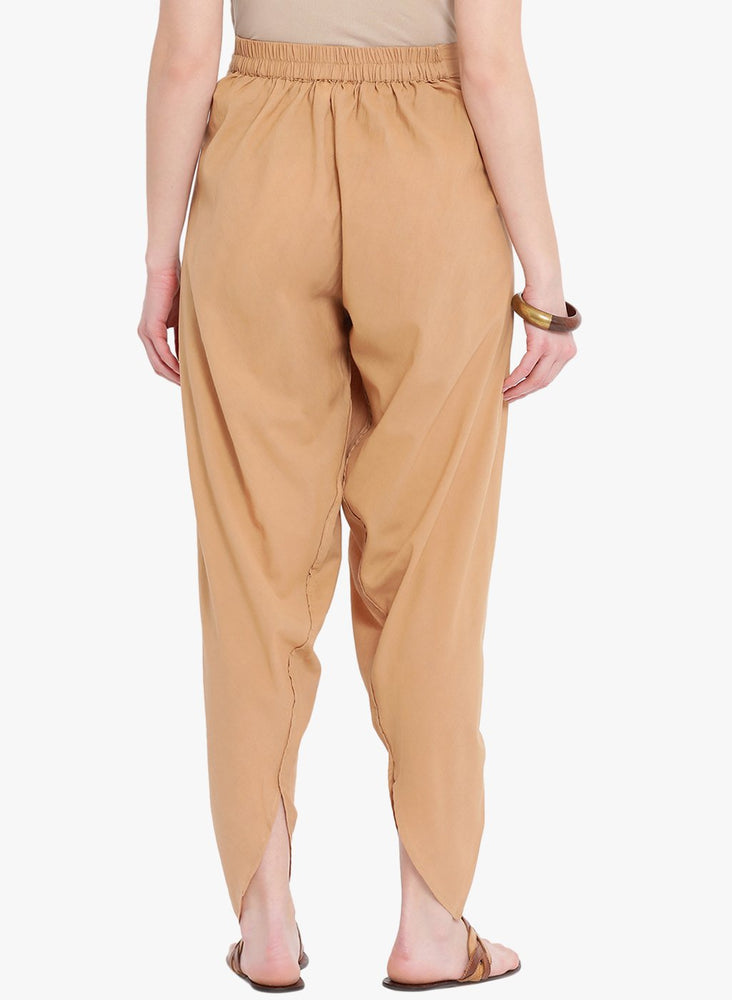 Load image into Gallery viewer, Fabnest Beige Cotton Pleated Overlap Dhoti Pants-Pant-Fabnest