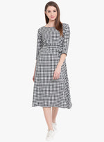 Black/white cotton check dress with belt-Dress-Fabnest