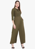 Fabnest Womens Khaki jumpsuit in crepe with pintucks-Jumpsuit-Fabnest