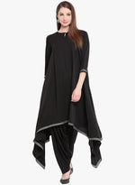 Fabnest Womens asymmetrical kurta and salwar set in black crepe-Ethnic Set-Fabnest