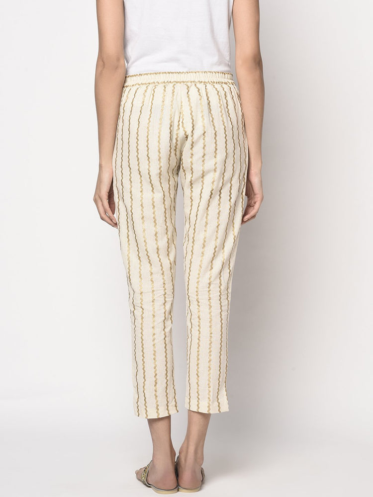 Load image into Gallery viewer, Fabnest women off white flex straight pant with chevron khadi print-Pants-Fabnest