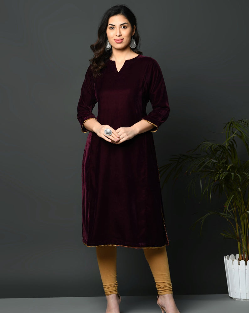 Wine coloured loose velvet kurta with golden gota detailing-Kurta-Fabnest