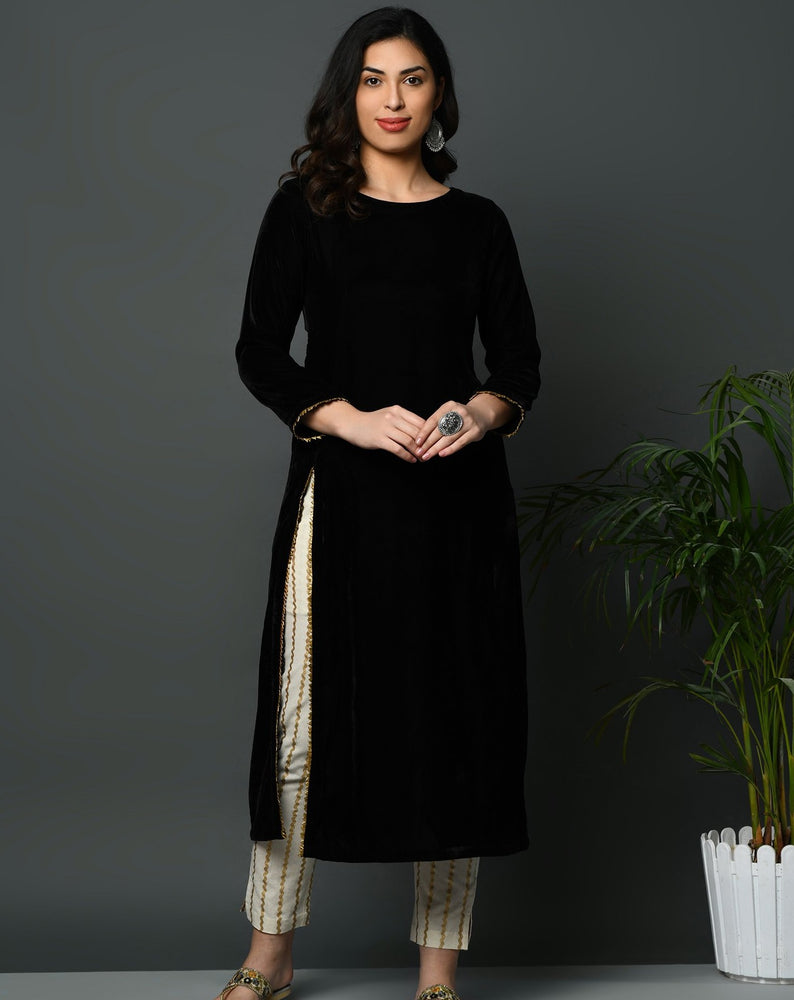 Black coloured velvet kurta with slit and golden gota detailing-Kurta-Fabnest