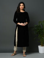 Black coloured velvet kurta with slit and golden gota detailing with flex gold khadi print tapered pant-Kurta Set-Fabnest