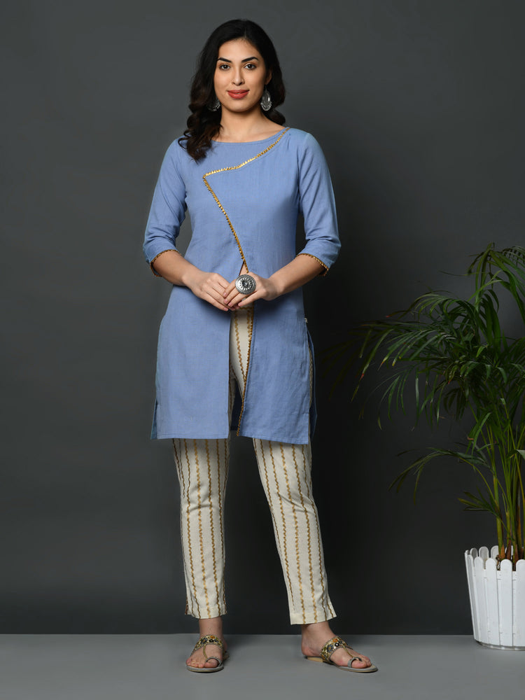 Light blue flex assymetric overlap tunic with gota inserts-Kurta-Fabnest