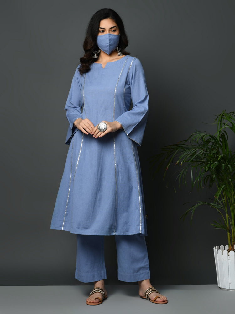 Light blue flex A line kurta with gota inserts and bell sleeves-Kurtas-Fabnest