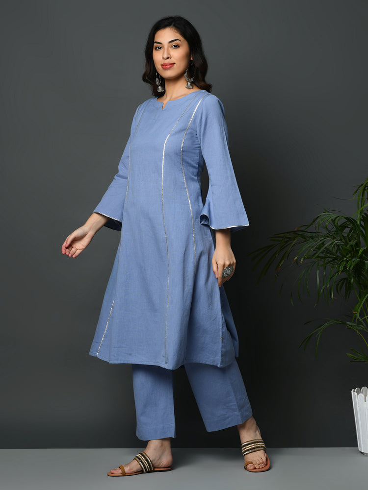 Load image into Gallery viewer, Light blue flex A line kurta with gota inserts and bell sleeves-Kurtas-Fabnest