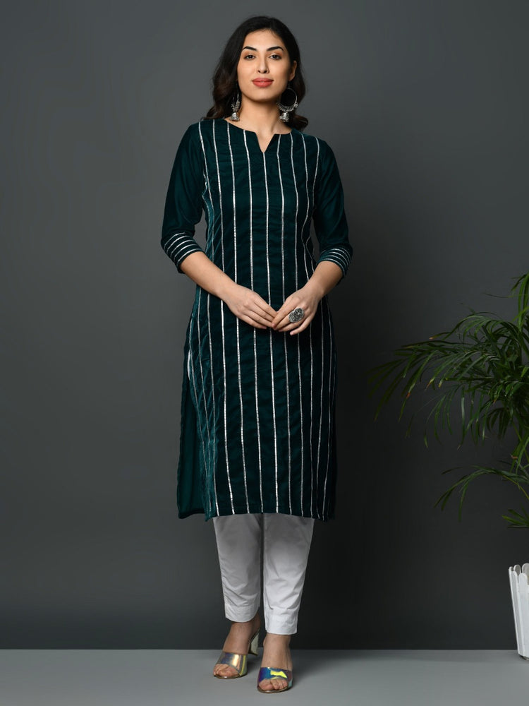 Green coloured velvet kurta with all over gota work-Kurtas-Fabnest